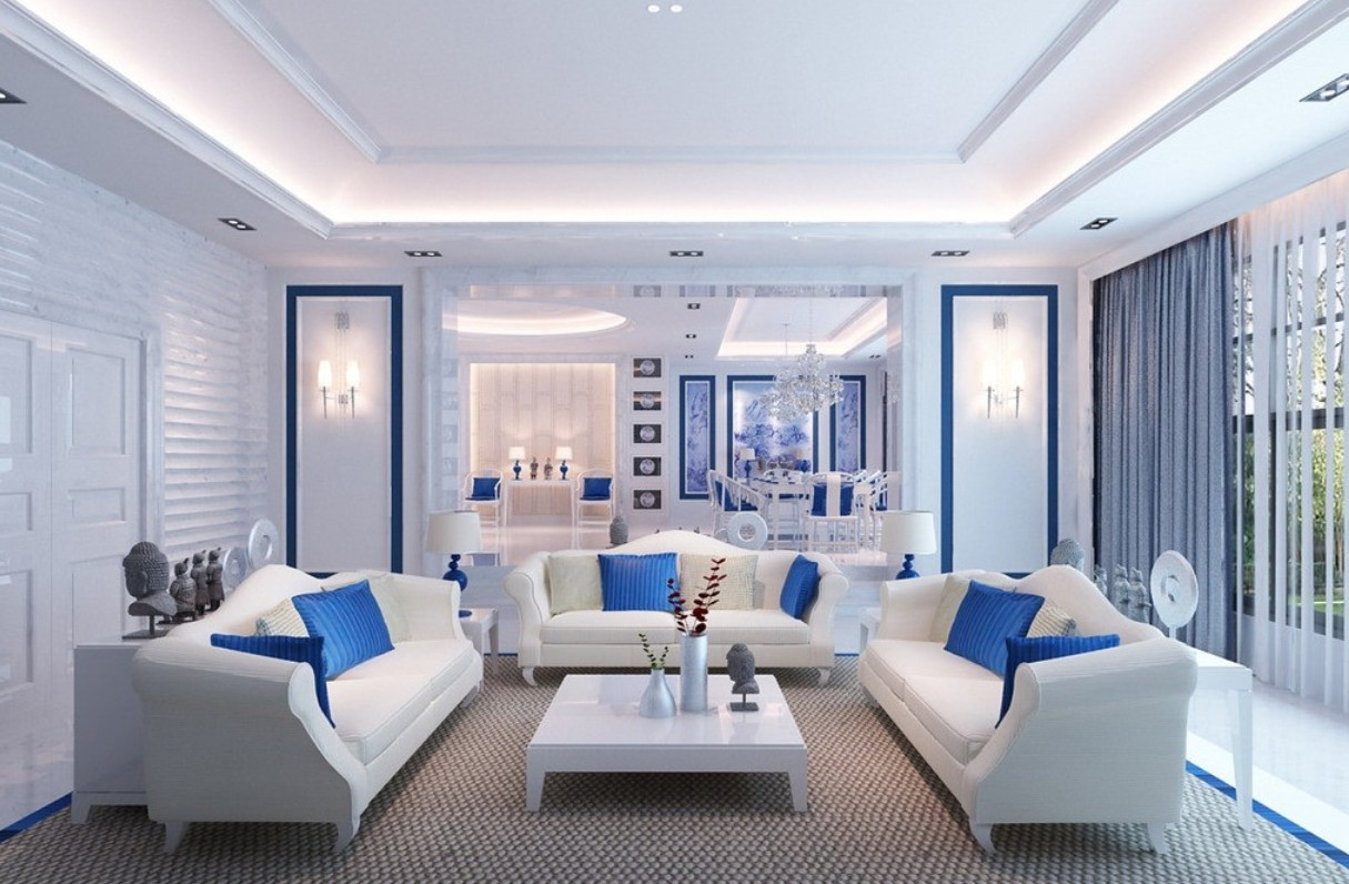 Blue & White Living Room