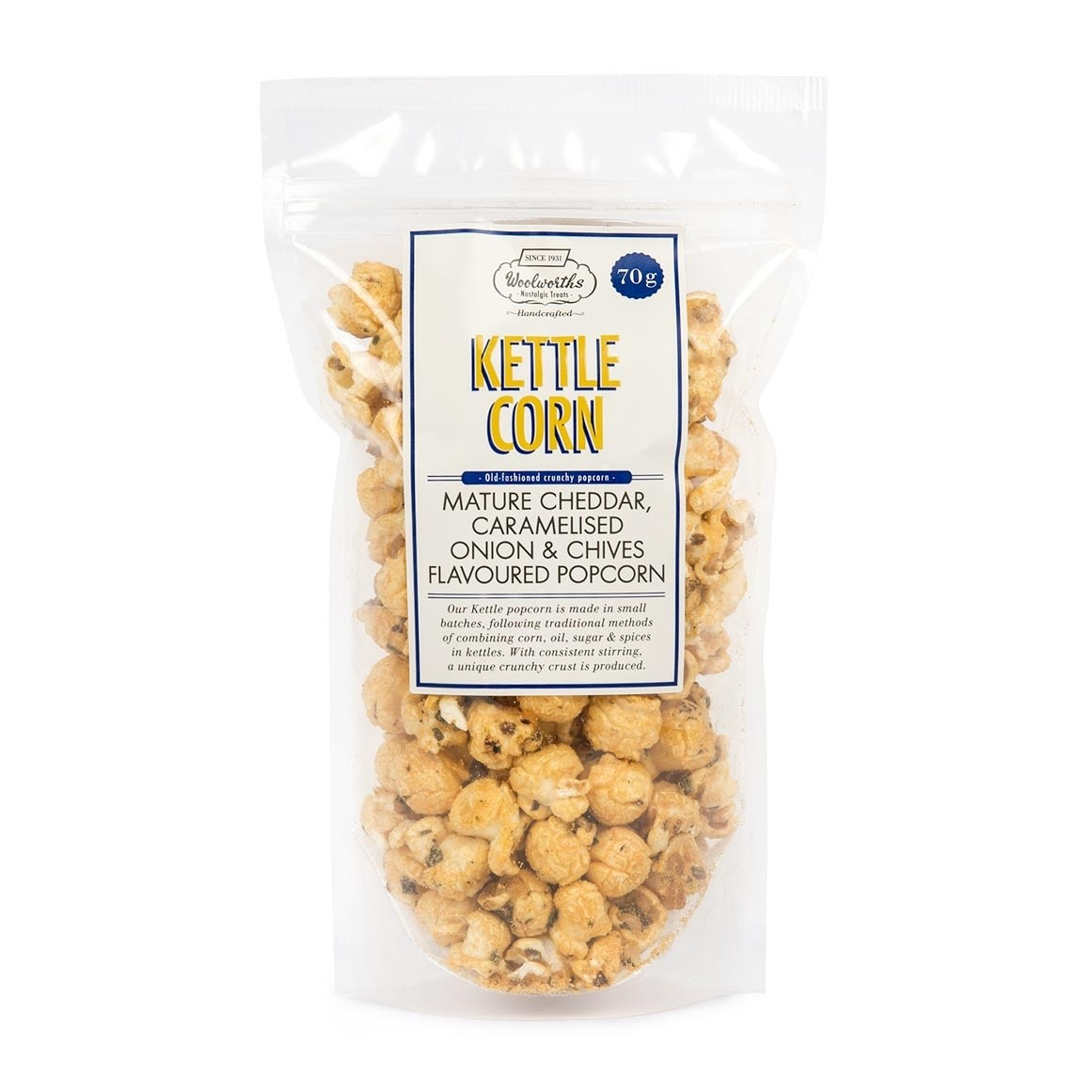 Woolworths Mature Cheddar Caramelised Onion Chives Popcorn